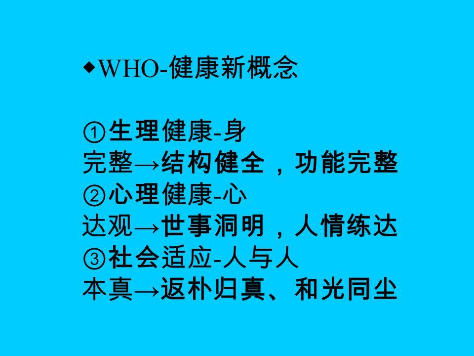 ◆ WHO- 健康新概念 ①生理健康 - 身 完整 → 结构健全,功能完整 ②心理健康 - 心 达观 → 世事洞明,人情练达 ③社会适应 - 人与人 本真 → 返朴归真、和光同尘