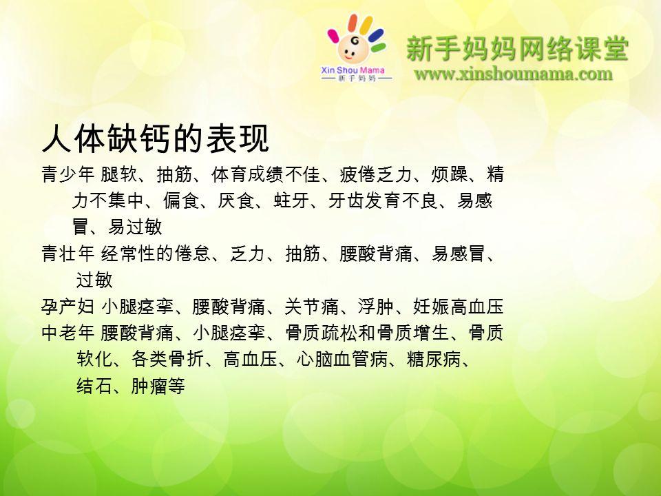 人体缺钙的表现 青少年 腿软、抽筋、体育成绩不佳、疲倦乏力、烦躁、精 力不集中、偏食、厌食、蛀牙、牙齿发育不良、易感 冒、易过敏 青壮年 经常性的倦怠、乏力、抽筋、腰酸背痛、易感冒、 过敏 孕产妇 小腿痉挛、腰酸背痛、关节痛、浮肿、妊娠高血压 中老年 腰酸背痛、小腿痉挛、骨质疏松和骨质增生、骨质 软化、各类骨折、高血压、心脑血管病、糖尿病、 结石、肿瘤等