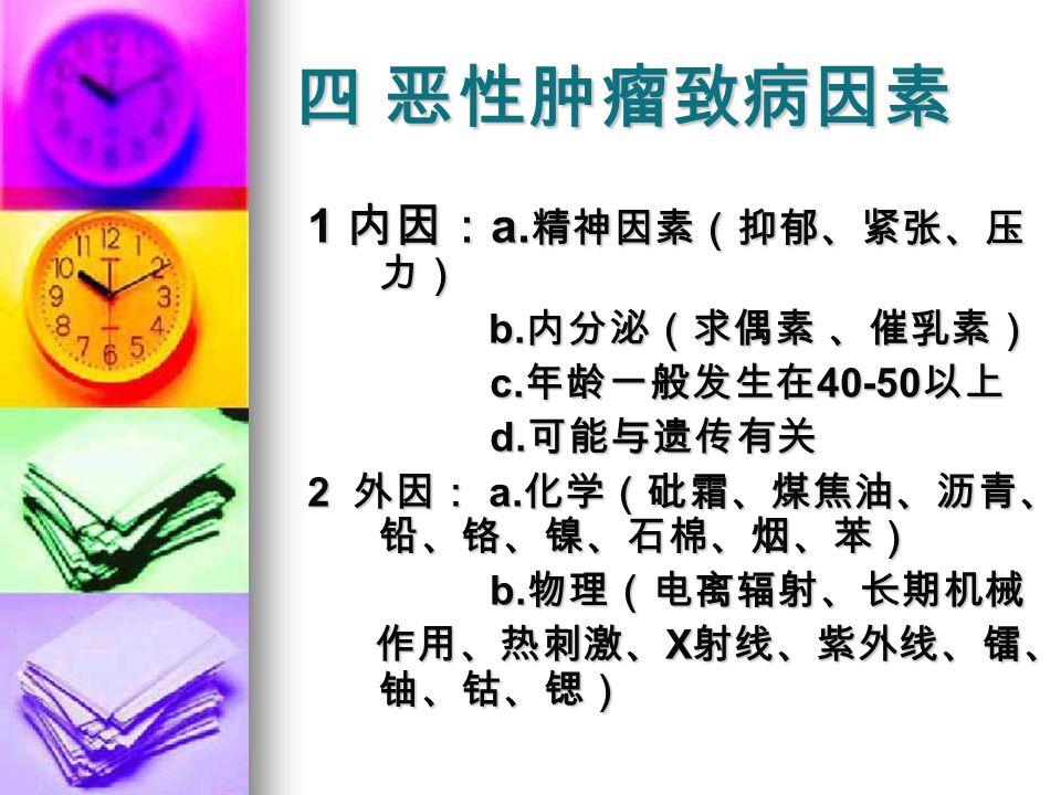 四 恶性肿瘤致病因素 1 内因: a. 精神因素(抑郁、紧张、压 力) b. 内分泌(求偶素 、催乳素) b.