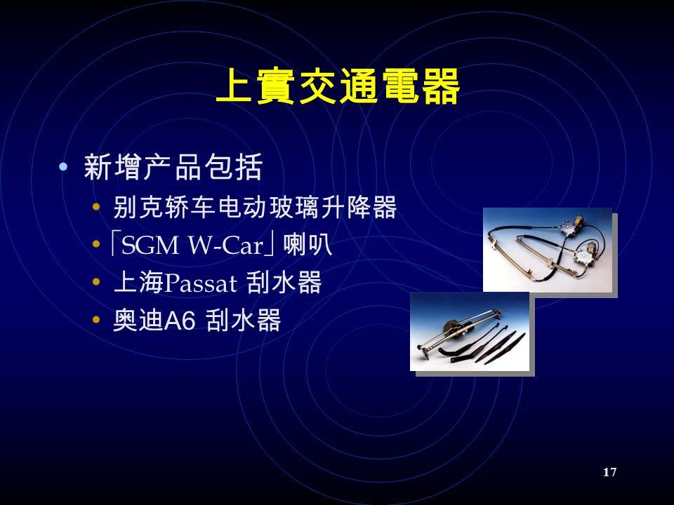 17 上實交通電器 新增产品包括 别克轿车电动玻璃升降器  SGM W-Car  喇叭 上海 Passat 刮水器 奥迪 A6 刮水器