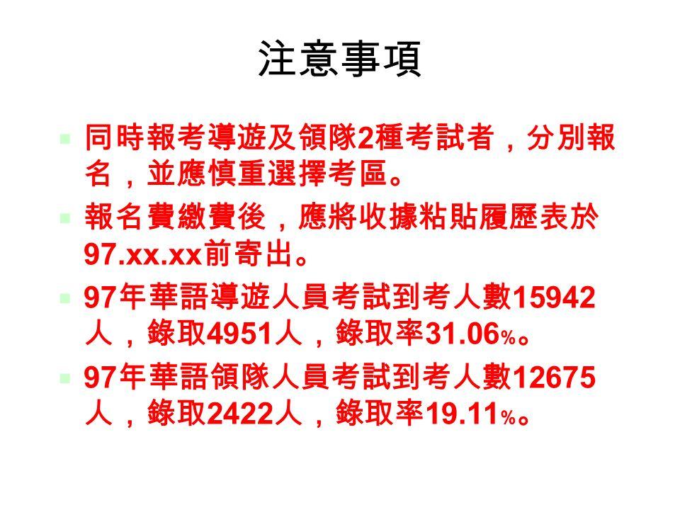 24 注意事項  同時報考導遊及領隊 2 種考試者,分別報 名,並應慎重選擇考區。  報名費繳費後,應將收據粘貼履歷表於 97.xx.xx 前寄出。  97 年華語導遊人員考試到考人數 15942 人,錄取 4951 人,錄取率 31.06 ﹪。  97 年華語領隊人員考試到考人數 12675 人,錄取 2422 人,錄取率 19.11 ﹪。