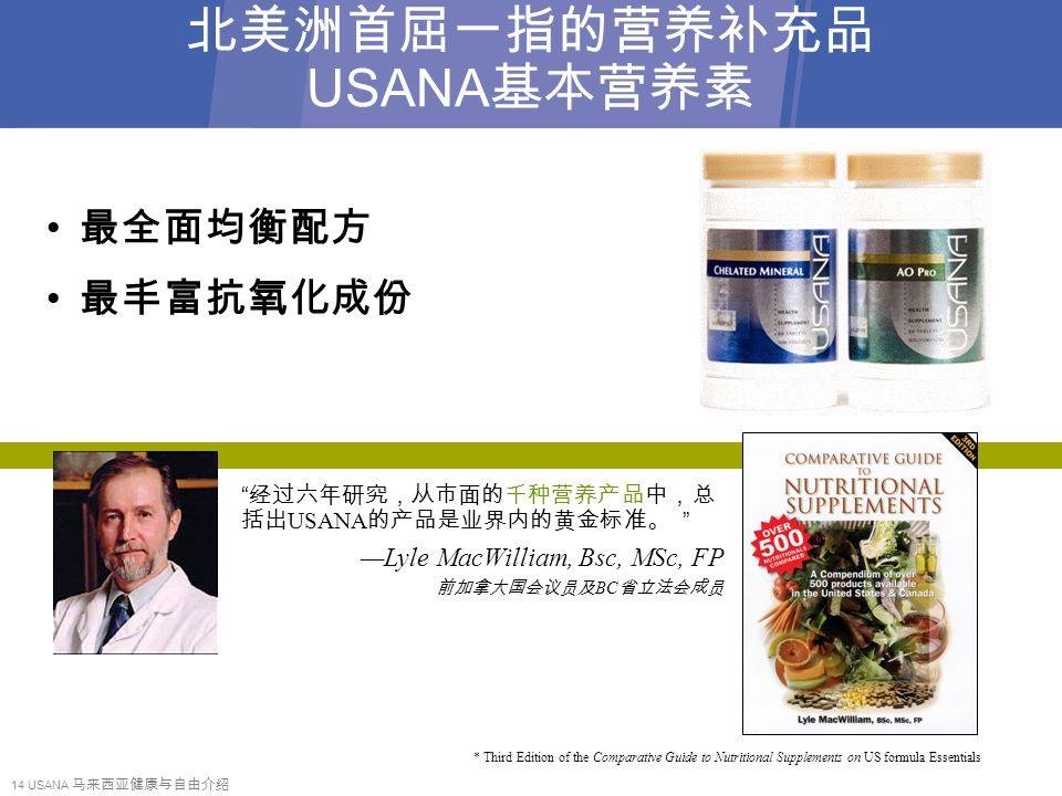 14 USANA 马来西亚健康与自由介绍 北美洲首屈一指的营养补充品 USANA 基本营养素 最全面均衡配方 最丰富抗氧化成份 经过六年研究,从市面的千种营养产品中,总 括出 USANA 的产品是业界内的黄金标准。 —Lyle MacWilliam, Bsc, MSc, FP 前加拿大国会议员及 BC 省立法会成员 * Third Edition of the Comparative Guide to Nutritional Supplements on US formula Essentials