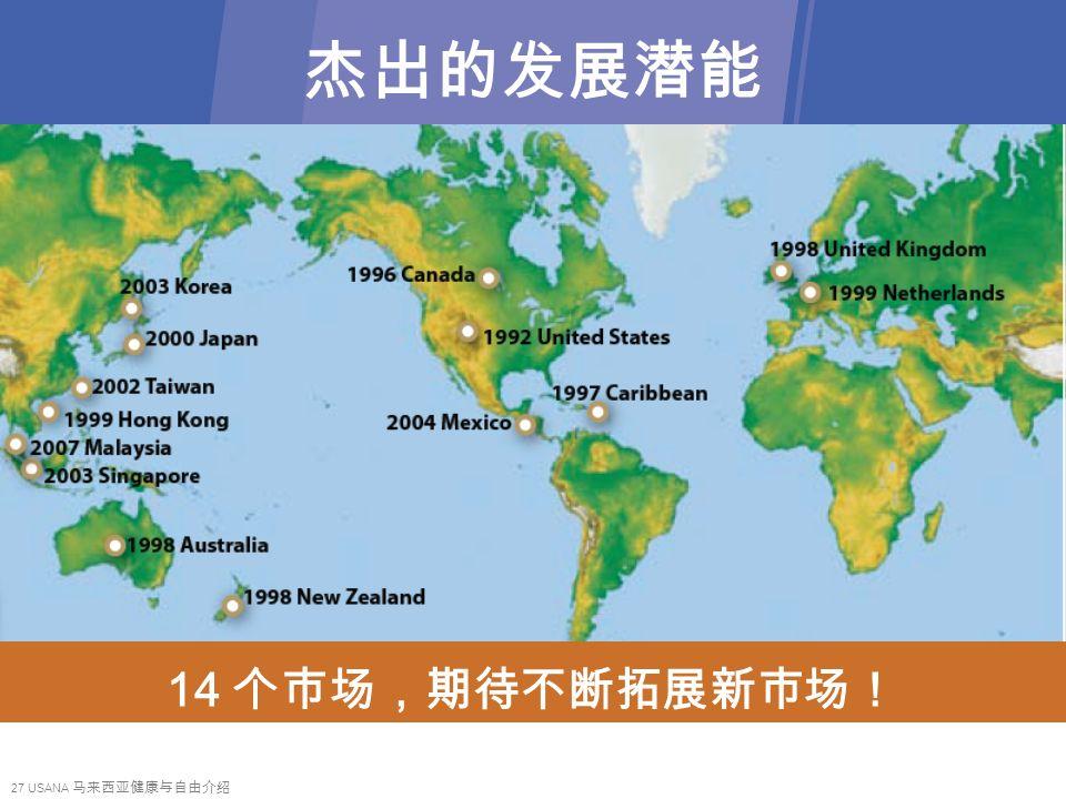 27 USANA 马来西亚健康与自由介绍 杰出的发展潜能 14 个巿场,期待不断拓展新巿场!