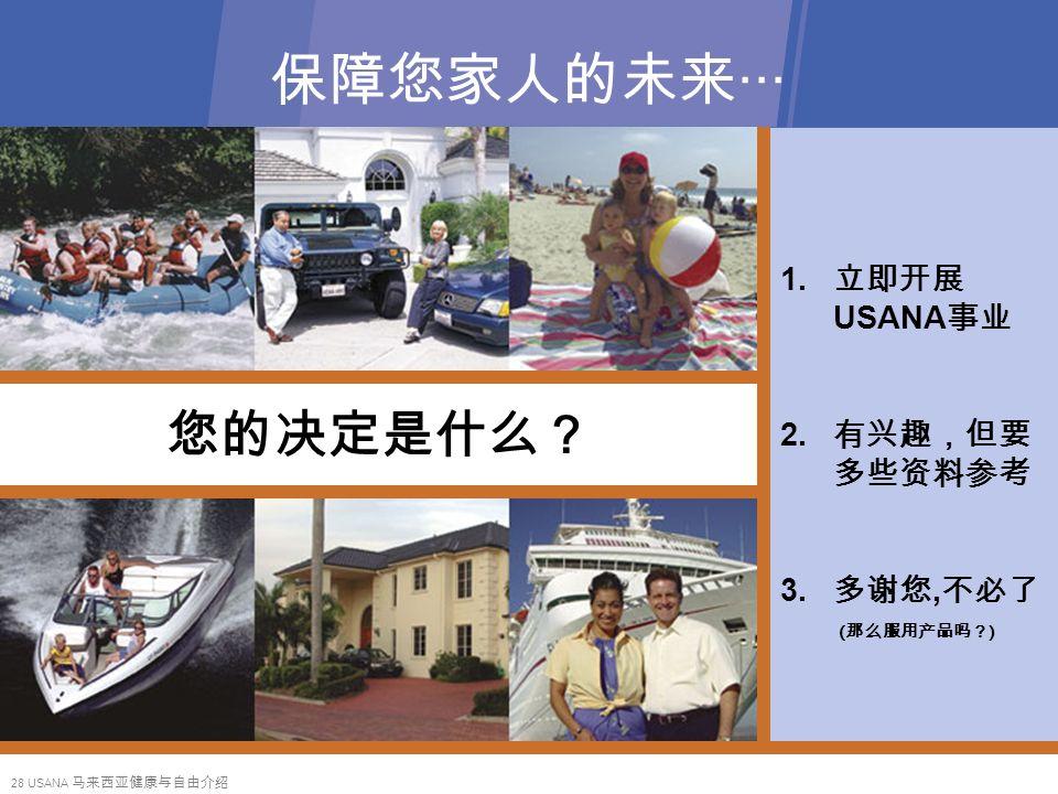 28 USANA 马来西亚健康与自由介绍 保障您家人的未来‧‧‧ 您的决定是什么? 1. 立即开展 USANA 事业 2.