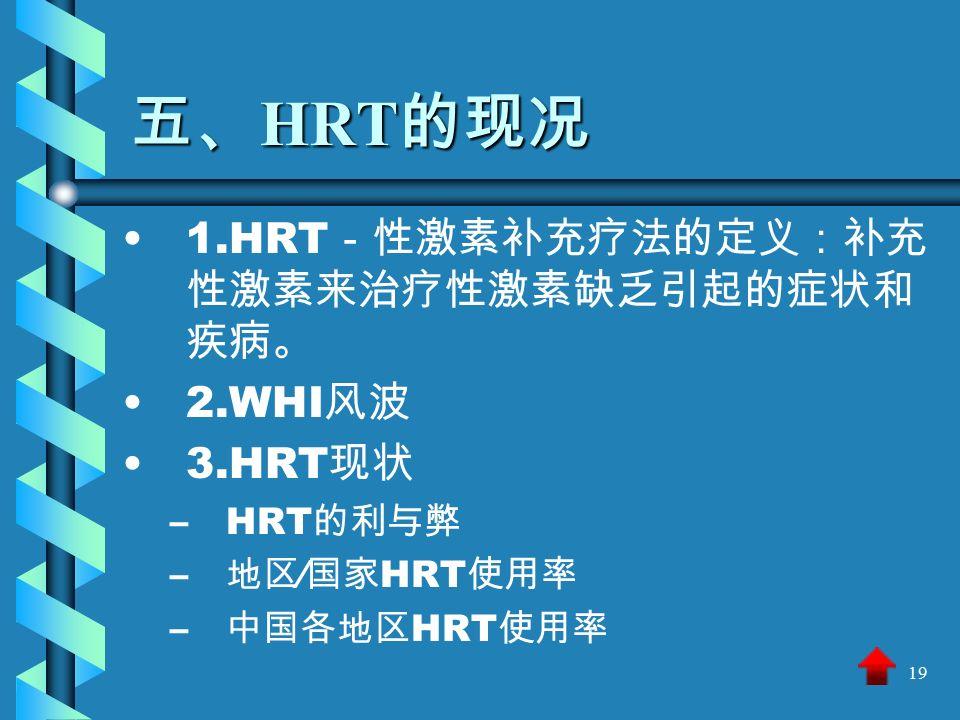 19 五、 HRT 的现况 1.HRT -性激素补充疗法的定义:补充 性激素来治疗性激素缺乏引起的症状和 疾病。 2.WHI 风波 3.HRT 现状 – –HRT 的利与弊 – – 地区 ∕ 国家 HRT 使用率 – – 中国各地区 HRT 使用率