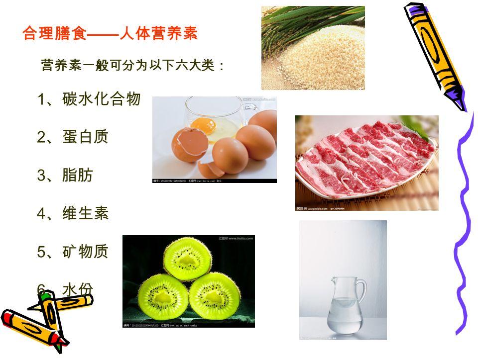 合理膳食 —— 人体营养素 营养素一般可分为以下六大类: 1 、碳水化合物 2 、蛋白质 3 、脂肪 4 、维生素 5 、矿物质 6 、水份