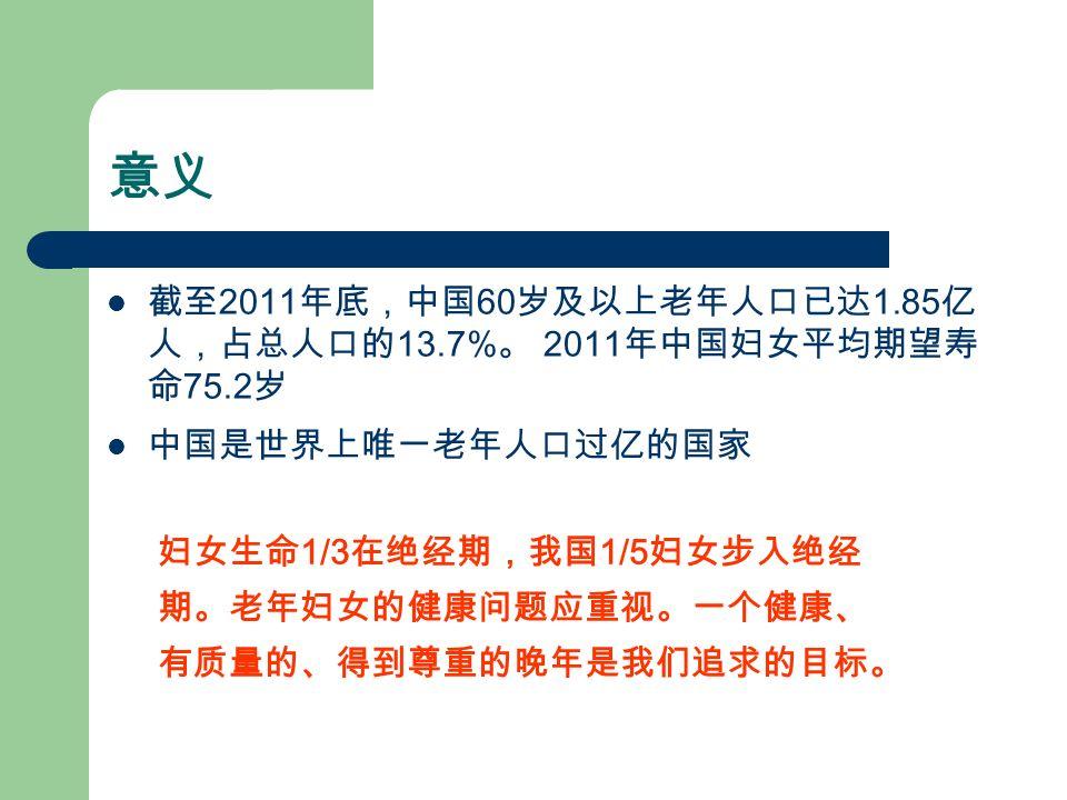 意义 截至 2011 年底,中国 60 岁及以上老年人口已达 1.85 亿 人,占总人口的 13.7% 。 2011 年中国妇女平均期望寿 命 75.2 岁 中国是世界上唯一老年人口过亿的国家 妇女生命 1/3 在绝经期,我国 1/5 妇女步入绝经 期。老年妇女的健康问题应重视。一个健康、 有质量的、得到尊重的晚年是我们追求的目标。