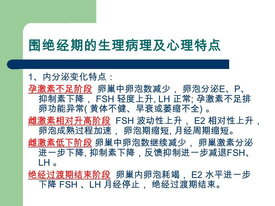 围绝经期的生理病理及心理特点 1 、内分泌变化特点: 孕激素不足阶段 卵巢中卵泡数减少, 卵泡分泌 E 、 P 、 抑制素下降, FSH 轻度上升, LH 正常 ; 孕激素不足排 卵功能异常 ( 黄体不健、早衰或萎缩不全 ) 。 雌激素相对升高阶段 FSH 波动性上升, E2 相对性上升, 卵泡成熟过程加速, 卵泡期缩短, 月经周期缩短。 雌激素低下阶段 卵巢中卵泡数继续减少, 卵巢激素分泌 进一步下降, 抑制素下降,反馈抑制进一步减退 FSH 、 LH 。 绝经过渡期结束阶段 卵巢内卵泡耗竭, E2 水平进一步 下降 FSH 、 LH 月经停止, 绝经过渡期结束。