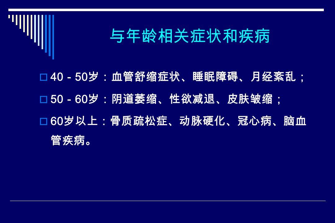 与年龄相关症状和疾病  40 - 50 岁:血管舒缩症状、睡眠障碍、月经紊乱;  50 - 60 岁:阴道萎缩、性欲减退、皮肤皱缩;  60 岁以上:骨质疏松症、动脉硬化、冠心病、脑血 管疾病。