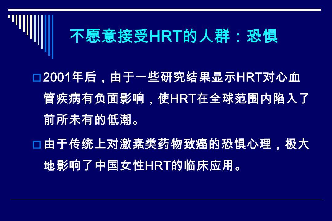 不愿意接受 HRT 的人群:恐惧  2001 年后,由于一些研究结果显示 HRT 对心血 管疾病有负面影响,使 HRT 在全球范围内陷入了 前所未有的低潮。  由于传统上对激素类药物致癌的恐惧心理,极大 地影响了中国女性 HRT 的临床应用。