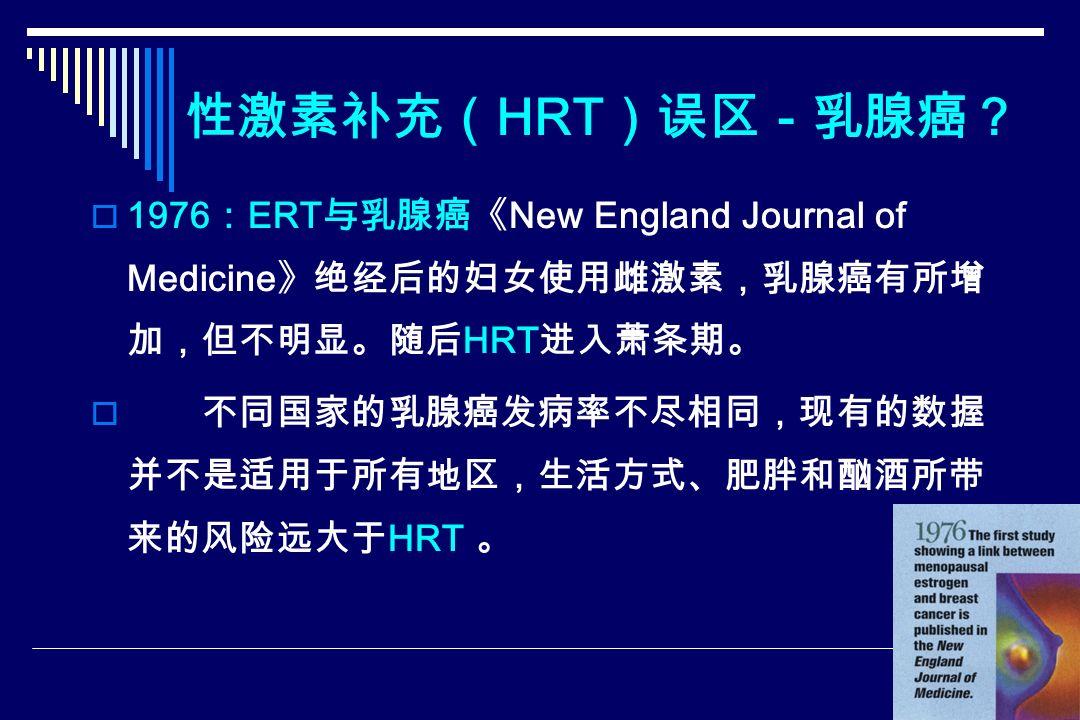 性激素补充( HRT )误区-乳腺癌?  1976 : ERT 与乳腺癌《 New England Journal of Medicine 》绝经后的妇女使用雌激素,乳腺癌有所增 加,但不明显。随后 HRT 进入萧条期。  不同国家的乳腺癌发病率不尽相同,现有的数握 并不是适用于所有地区,生活方式、肥胖和酗酒所带 来的风险远大于 HRT 。