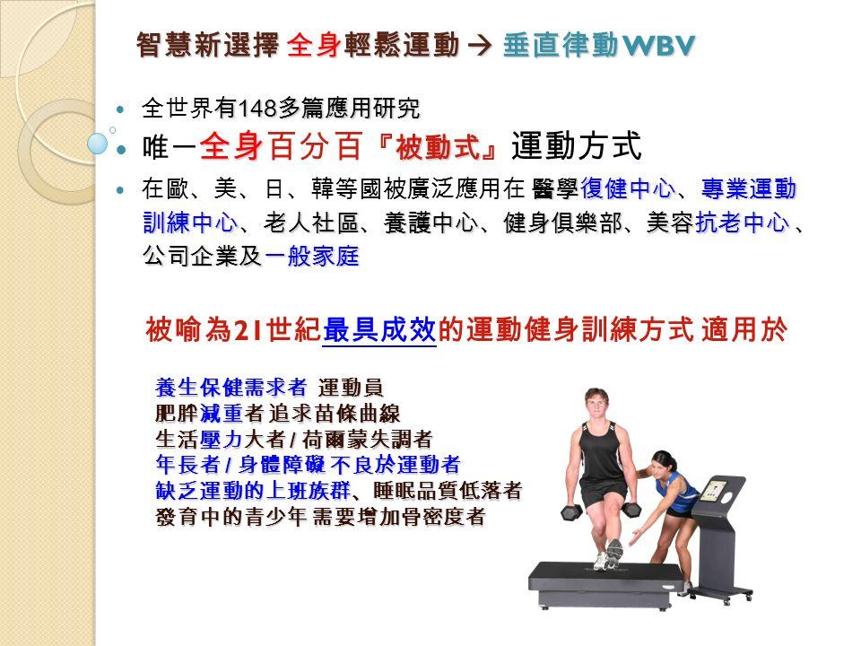 智慧新選擇 全身輕鬆運動  垂直律動 WBV 有 148 多篇應用研究 全世界有 148 多篇應用研究 全身 被動式 唯一 全身百分百 『被動式』 運動方式 醫學復健中心專業運動 在歐、美、日、韓等國被廣泛應用在 醫學復健中心、專業運動 訓練中心老人社區養護中心健身俱樂部美容抗老中心 訓練中心、老人社區、養護中心、健身俱樂部、美容抗老中心 、 公司企業及一般家庭 被喻為 21 世紀最具成效的運動健身訓練方式 適用於 養生保健需求者 運動員 肥胖減重者 追求苗條曲線 生活壓力大者 / 荷爾蒙失調者 年長者 / 身體障礙 不良於運動者 缺乏運動的上班族群、睡眠品質低落者 發育中的青少年 需要增加骨密度者