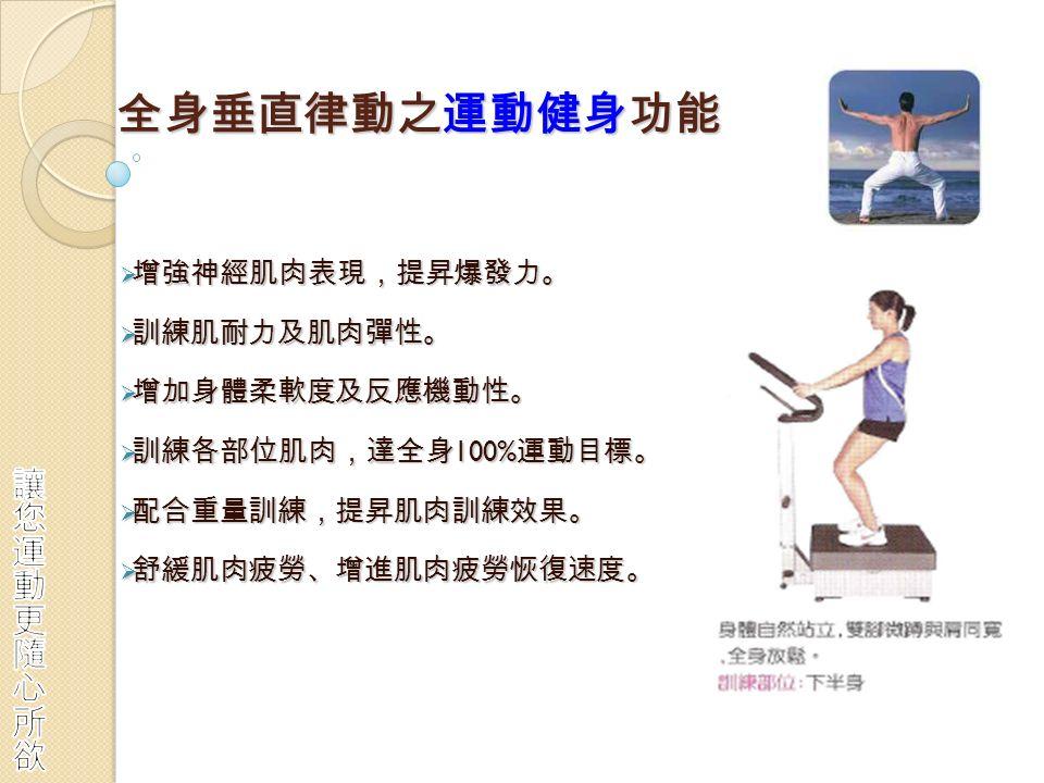 全身垂直律動之運動健身功能  增強神經肌肉表現,提昇爆發力。  訓練肌耐力及肌肉彈性。  增加身體柔軟度及反應機動性。  訓練各部位肌肉,達全身 100% 運動目標。  配合重量訓練,提昇肌肉訓練效果。  舒緩肌肉疲勞、增進肌肉疲勞恢復速度。