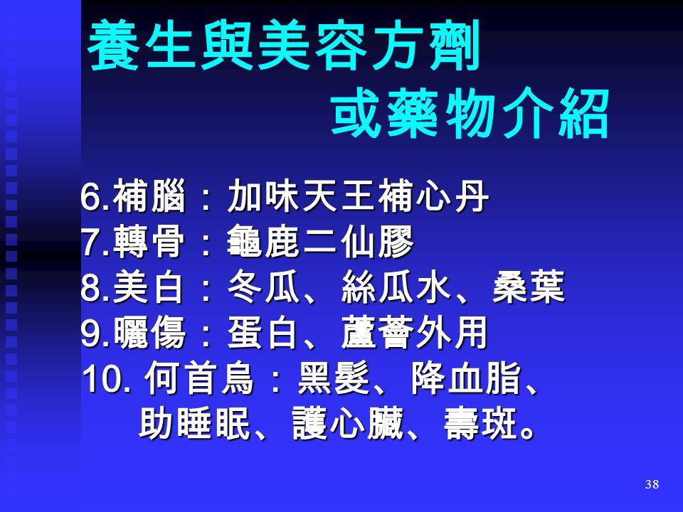 38 6. 補腦:加味天王補心丹 7. 轉骨:龜鹿二仙膠 8. 美白:冬瓜、絲瓜水、桑葉 9.