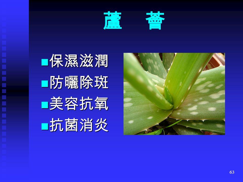 63 蘆 薈 保濕滋潤 保濕滋潤 防曬除斑 防曬除斑 美容抗氧 美容抗氧 抗菌消炎 抗菌消炎