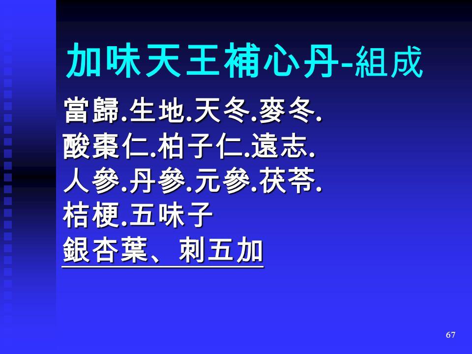 67 加味天王補心丹 - 組成 當歸. 生地. 天冬. 麥冬. 酸棗仁. 柏子仁. 遠志.