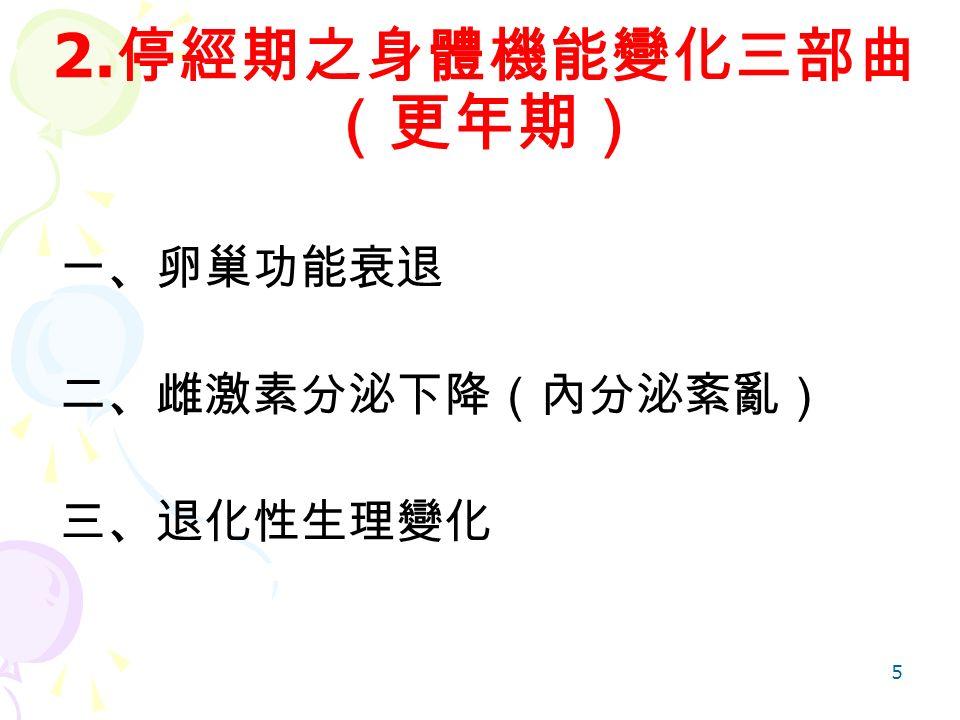 5 2. 停經期之身體機能變化三部曲 (更年期) 一、卵巢功能衰退 二、雌激素分泌下降(內分泌紊亂) 三、退化性生理變化