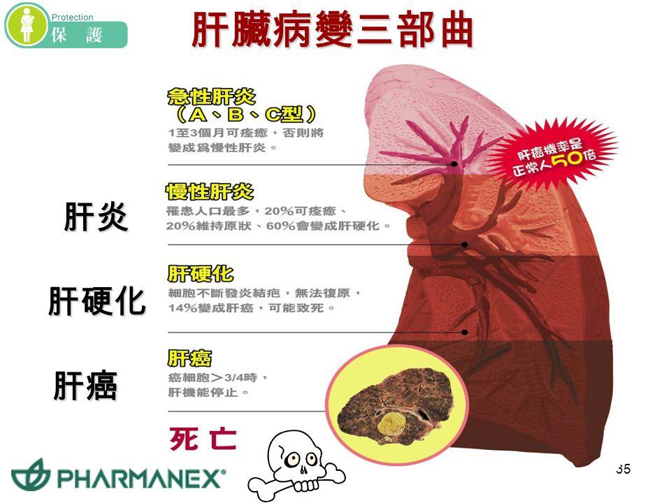 34 國人健康大敵 -- 肝 病 肝炎、肝硬化、肝癌 名列十大死因之內 每 5 個台灣人中, 有 1 個感染 B 型肝炎 全台灣有 300 萬 B 肝帶原者 慢性肝炎帶原者罹患肝癌的機會, 是一般人的 50 倍 4.