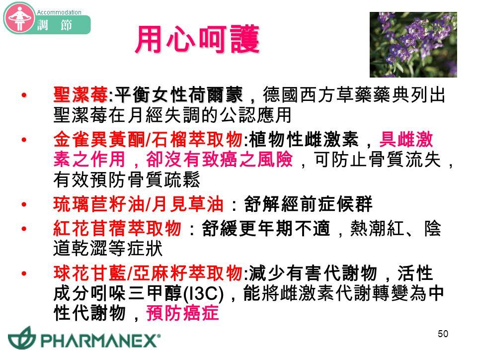 49 體貼女性 分齡保養 Estera 平衡配方調適配方長菁配方 年齡階段 育齡期 ( 約 12~40 歲 ) 更年期 ( 約 45~50 歲 ) 停經期 ( 約超過 50 歲 ) 月經情況有月經 仍有月經 但經期開始紊亂 停經一年以上 主要成份 聖潔莓 琉璃苣籽油 月見草油 球花甘藍 亞麻籽萃取物 大豆萃取物 石榴萃取物 紅花苜蓿萃取物 球花甘藍 亞麻籽萃取物 大豆萃取物 石榴萃取物 大豆萃取物 石榴萃取物 球花甘藍 亞麻籽萃取物