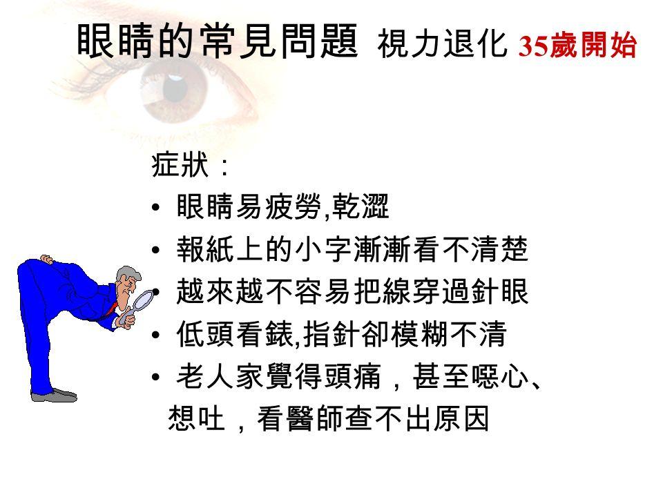 眼睛的常見問題 視力退化 35 歲開始 症狀: 眼睛易疲勞, 乾澀 報紙上的小字漸漸看不清楚 越來越不容易把線穿過針眼 低頭看錶, 指針卻模糊不清 老人家覺得頭痛,甚至噁心、 想吐,看醫師查不出原因