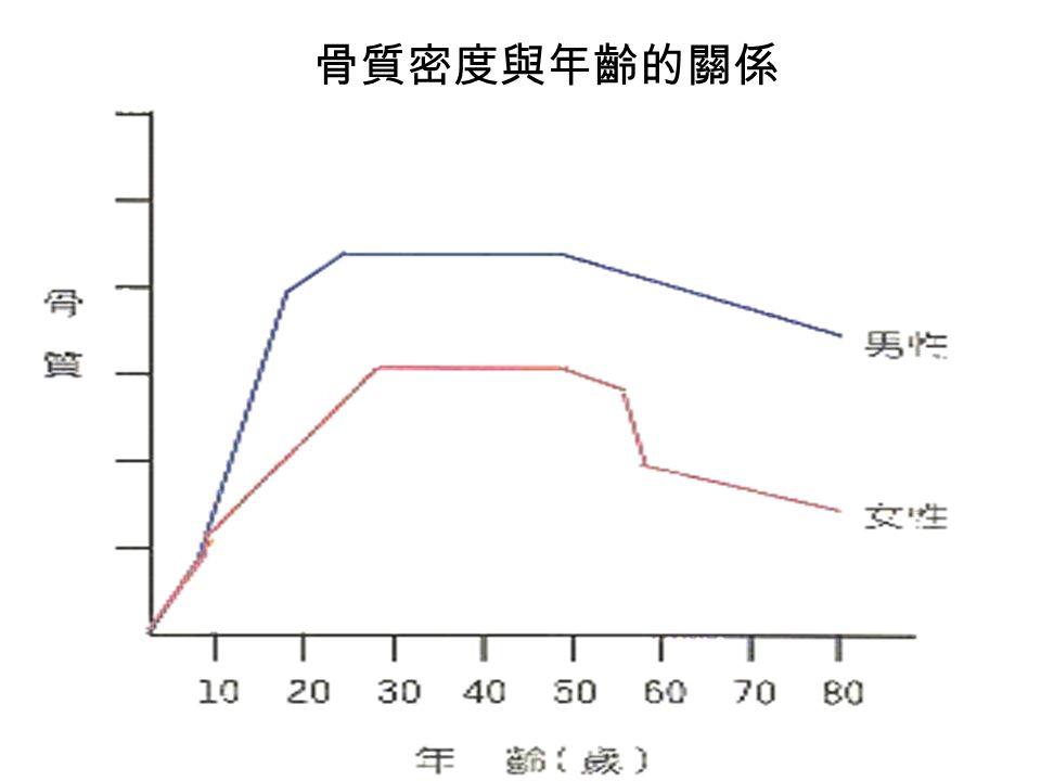骨質密度與年齡的關係