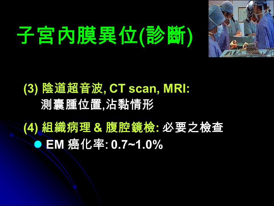 子宮內膜異位 ( 診斷 ) (3) 陰道超音波, CT scan, MRI: 測囊腫位置, 沾黏情形 (4) 組織病理 & 腹腔鏡檢 : 必要之檢查 EM 癌化率 : 0.7~1.0%