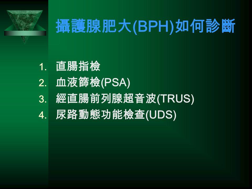 攝護腺肥大 (BPH) 如何診斷  直腸指檢  血液篩檢 (PSA)  經直腸前列腺超音波 (TRUS)  尿路動態功能檢查 (UDS)