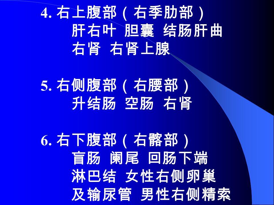4. 右上腹部(右季肋部) 肝右叶 胆囊 结肠肝曲 右肾 右肾上腺 5. 右侧腹部(右腰部) 升结肠 空肠 右肾 6.