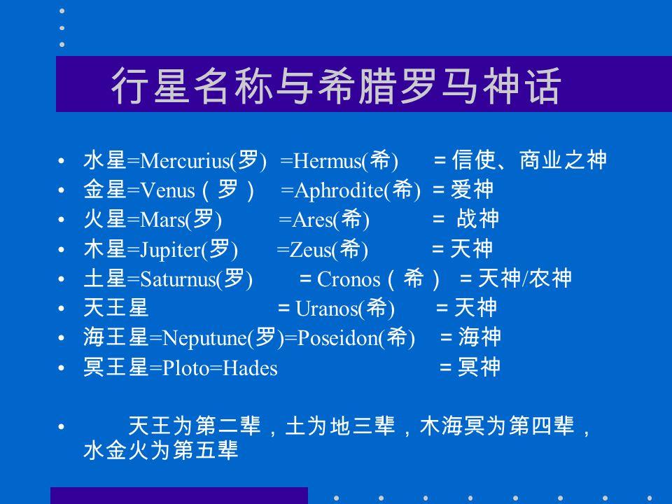 行星名称与希腊罗马神话 水星 =Mercurius( 罗 ) =Hermus( 希 ) =信使、商业之神 金星 =Venus (罗) =Aphrodite( 希 ) =爱神 火星 =Mars( 罗 ) =Ares( 希 ) = 战神 木星 =Jupiter( 罗 ) =Zeus( 希 ) =天神 土星 =Saturnus( 罗 ) = Cronos (希) =天神 / 农神 天王星 = Uranos( 希 ) =天神 海王星 =Neputune( 罗 )=Poseidon( 希 ) =海神 冥王星 =Ploto=Hades =冥神 天王为第二辈,土为地三辈,木海冥为第四辈, 水金火为第五辈