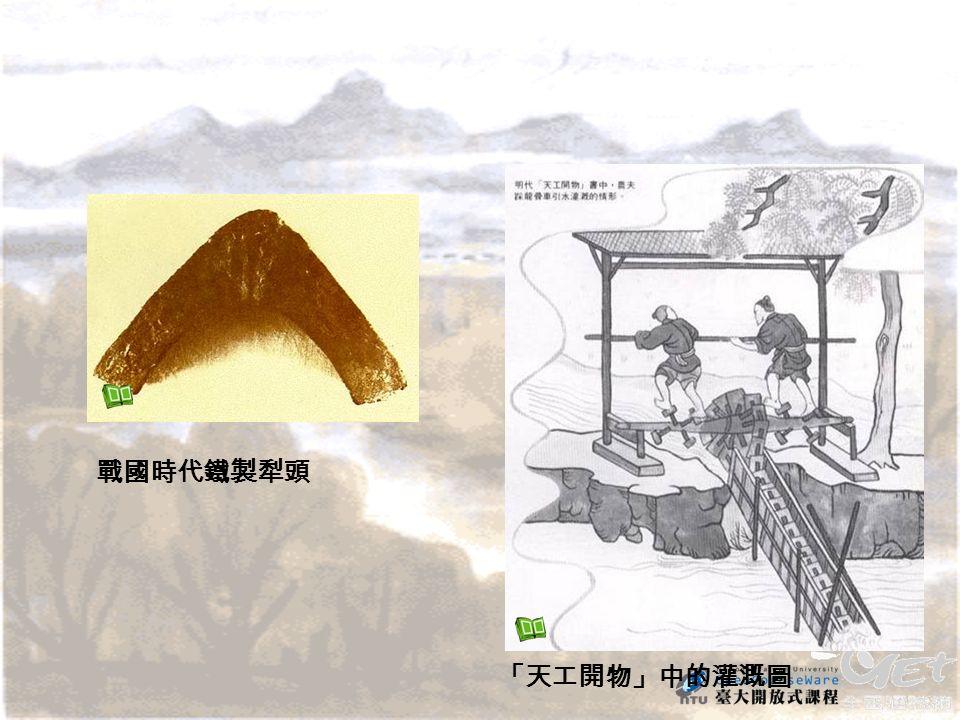 「天工開物」中的灌溉圖 戰國時代鐵製犁頭