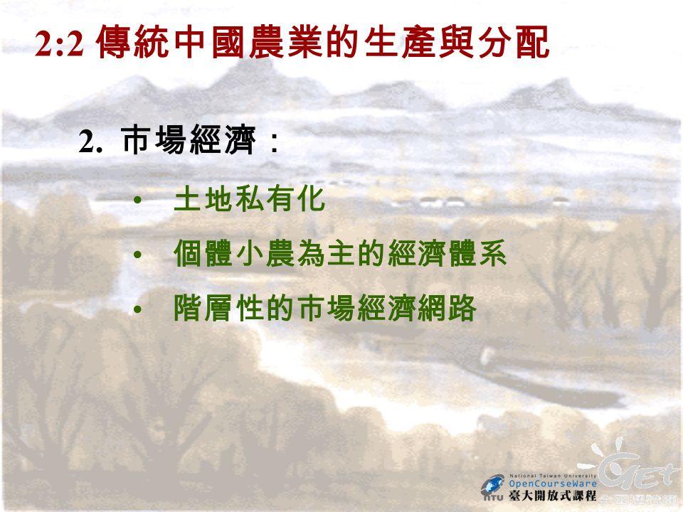2:2 傳統中國農業的生產與分配 2. 市場經濟: 土地私有化 個體小農為主的經濟體系 階層性的市場經濟網路