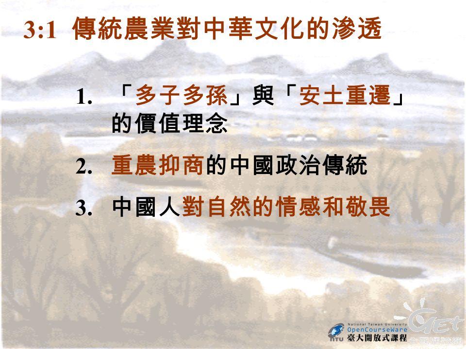 3:1 傳統農業對中華文化的滲透 1. 「多子多孫」與「安土重遷」 的價值理念 2. 重農抑商的中國政治傳統 3. 中國人對自然的情感和敬畏