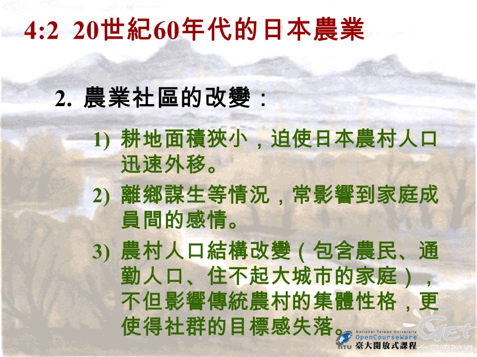 4:2 20 世紀 60 年代的日本農業 2.