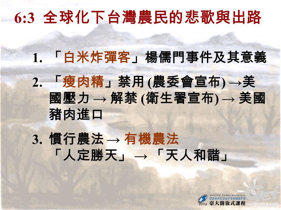 6:3 全球化下台灣農民的悲歌與出路 1. 「白米炸彈客」楊儒門事件及其意義 2. 「瘦肉精」禁用 ( 農委會宣布 ) → 美 國壓力 → 解禁 ( 衛生署宣布 ) → 美國 豬肉進口 3.