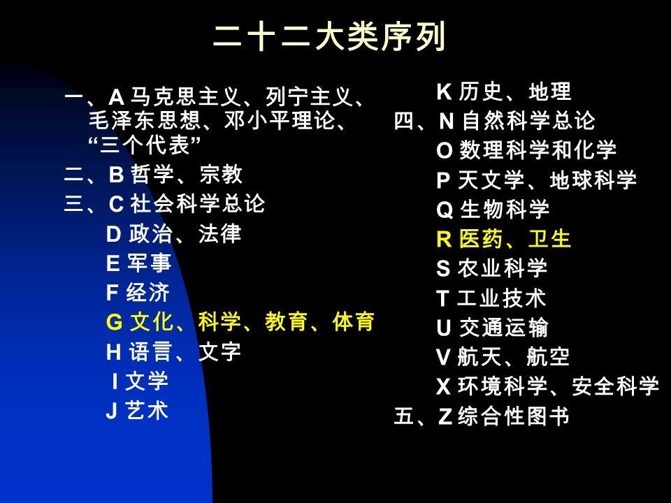 五大部类序列: 一、马克思主义、列宁主义、 毛泽东思想、邓小平理论; 三个代表 二、哲学 三、社会科学 四、自然科学 五、综合性图书