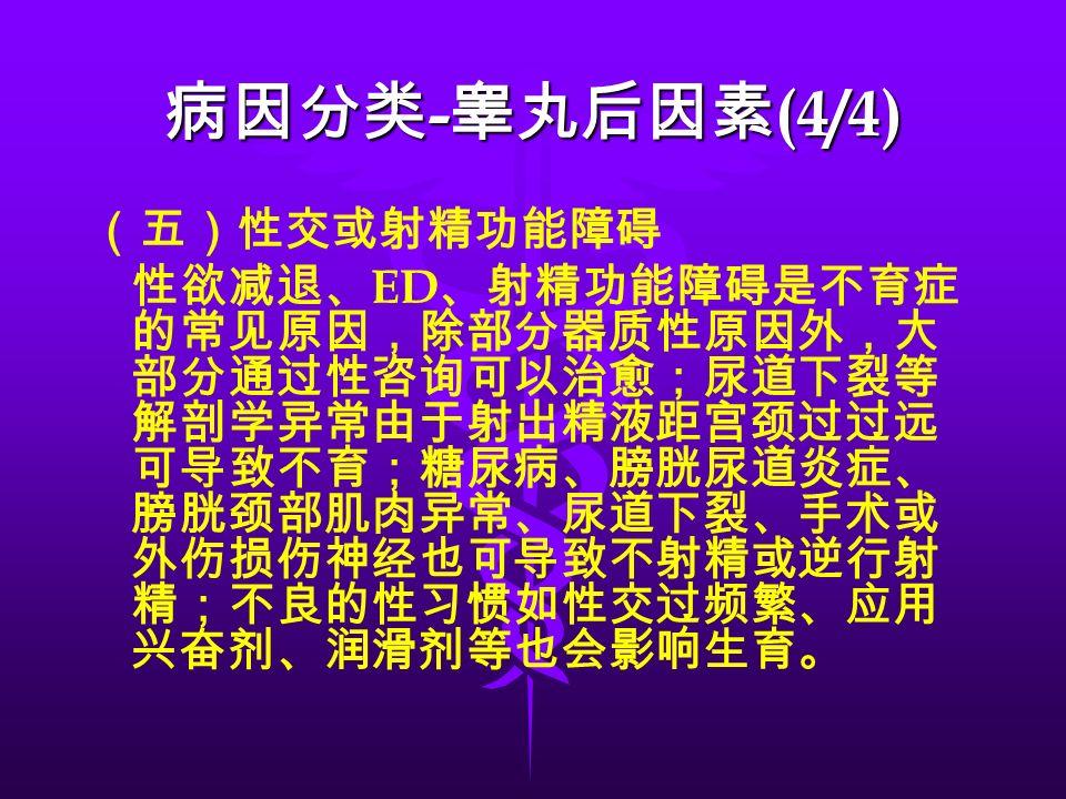 (五)性交或射精功能障碍 性欲减退、 ED 、射精功能障碍是不育症 的常见原因,除部分器质性原因外,大 部分通过性咨询可以治愈;尿道下裂等 解剖学异常由于射出精液距宫颈过过远 可导致不育;糖尿病、膀胱尿道炎症、 膀胱颈部肌肉异常、尿道下裂、手术或 外伤损伤神经也可导致不射精或逆行射 精;不良的性习惯如性交过频繁、应用 兴奋剂、润滑剂等也会影响生育。 病因分类 - 睾丸后因素 (4/4)