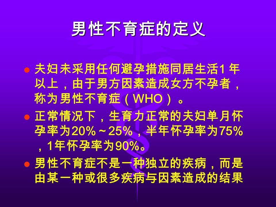 男性不育症的定义 夫妇未采用任何避孕措施同居生活 1 年 以上,由于男方因素造成女方不孕者, 称为男性不育症( WHO ) 。 正常情况下,生育力正常的夫妇单月怀 孕率为 20% ~ 25% ,半年怀孕率为 75% , 1 年怀孕率为 90% 。 男性不育症不是一种独立的疾病,而是 由某一种或很多疾病与因素造成的结果