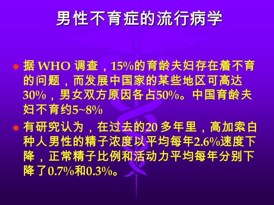 男性不育症的流行病学 l l 据 WHO 调查, 15% 的育龄夫妇存在着不育 的问题,而发展中国家的某些地区可高达 30% ,男女双方原因各占 50% 。中国育龄夫 妇不育约 5~8% l l 有研究认为,在过去的 20 多年里,高加索白 种人男性的精子浓度以平均每年 2.6% 速度下 降,正常精子比例和活动力平均每年分别下 降了 0.7% 和 0.3% 。