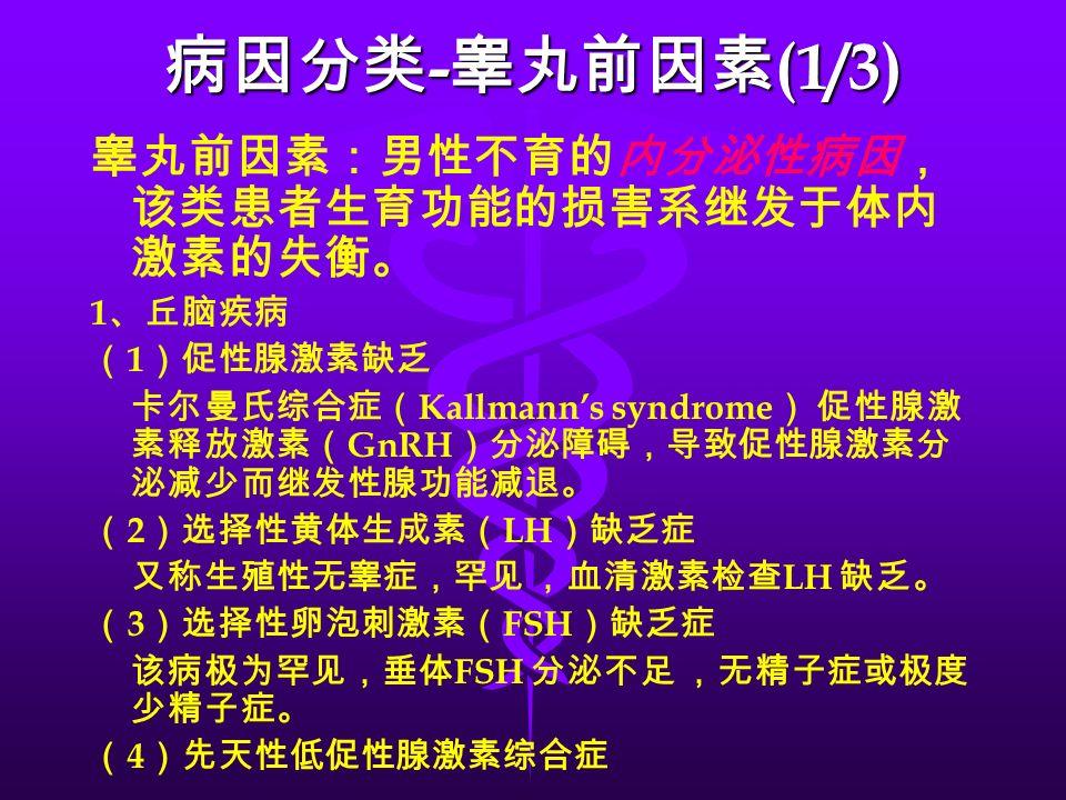 病因分类 - 睾丸前因素 (1/3) 睾丸前因素:男性不育的内分泌性病因, 该类患者生育功能的损害系继发于体内 激素的失衡。 1 、丘脑疾病 ( 1 )促性腺激素缺乏 卡尔曼氏综合症( Kallmann's syndrome ) 促性腺激 素释放激素( GnRH )分泌障碍,导致促性腺激素分 泌减少而继发性腺功能减退。 ( 2 )选择性黄体生成素( LH )缺乏症 又称生殖性无睾症,罕见 ,血清激素检查 LH 缺乏。 ( 3 )选择性卵泡刺激素( FSH )缺乏症 该病极为罕见,垂体 FSH 分泌不足 ,无精子症或极度 少精子症。 ( 4 )先天性低促性腺激素综合症