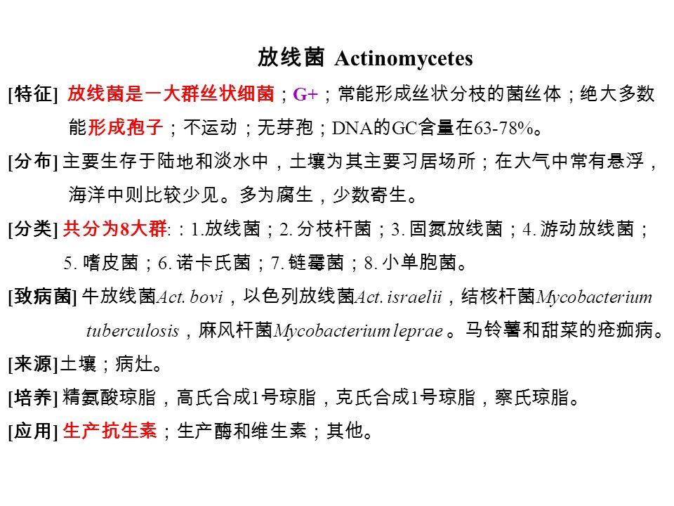 放线菌 Actinomycetes [ 特征 ] 放线菌是一大群丝状细菌; G+ ;常能形成丝状分枝的菌丝体;绝大多数 能形成孢子;不运动;无芽孢; DNA 的 GC 含量在 63-78% 。 [ 分布 ] 主要生存于陆地和淡水中,土壤为其主要习居场所;在大气中常有悬浮, 海洋中则比较少见。多为腐生,少数寄生。 [ 分类 ] 共分为 8 大群 : : 1.
