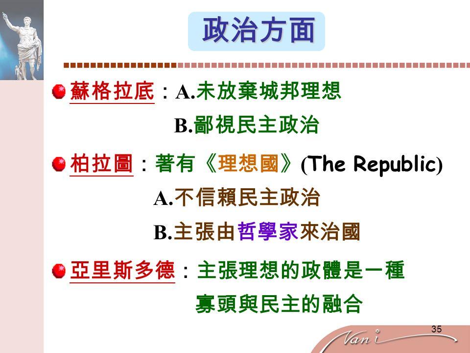 35 政治方面 蘇格拉底: A. 未放棄城邦理想 B. 鄙視民主政治 柏拉圖:著有《理想國》 ( The Republic ) A.