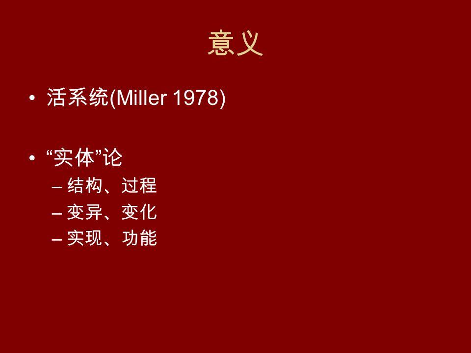 意义 活系统 (Miller 1978) 实体 论 – 结构、过程 – 变异、变化 – 实现、功能