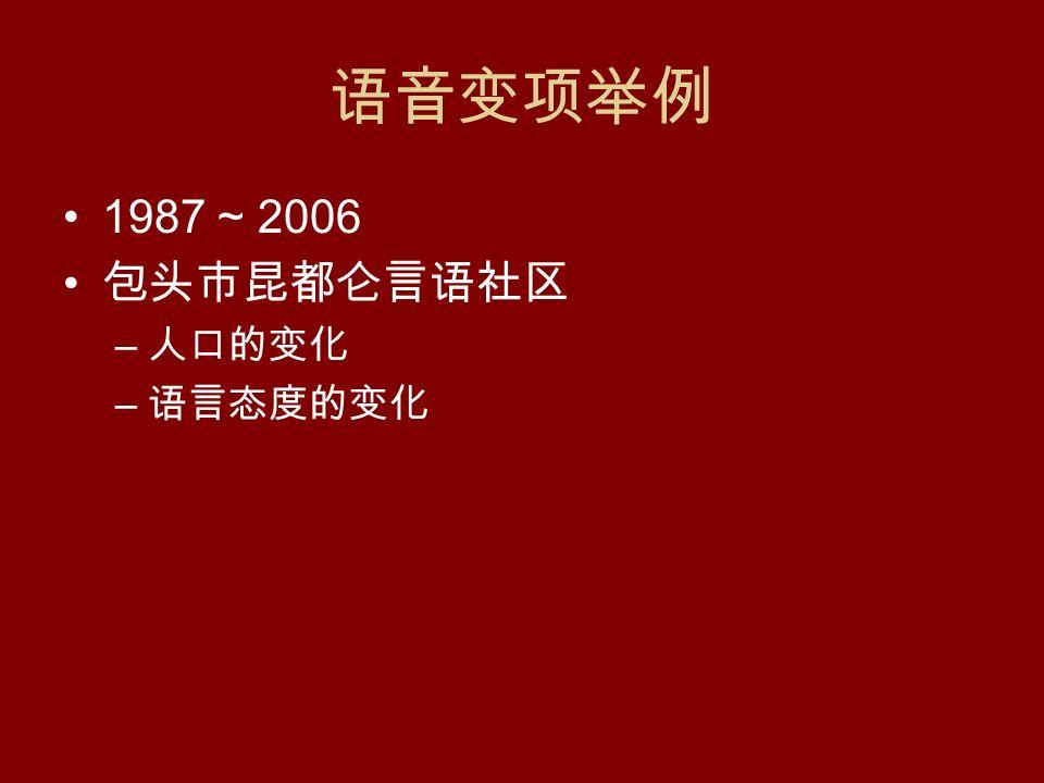 语音变项举例 1987 ~ 2006 包头市昆都仑言语社区 – 人口的变化 – 语言态度的变化