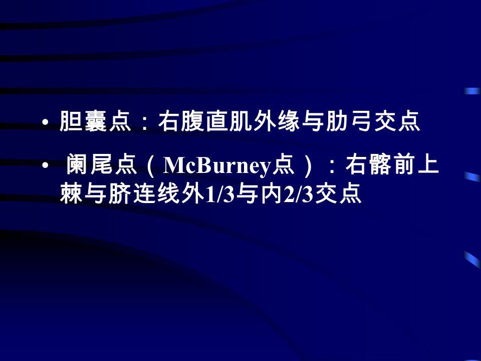 胆囊点:右腹直肌外缘与肋弓交点 阑尾点( McBurney 点):右髂前上 棘与脐连线外 1/3 与内 2/3 交点