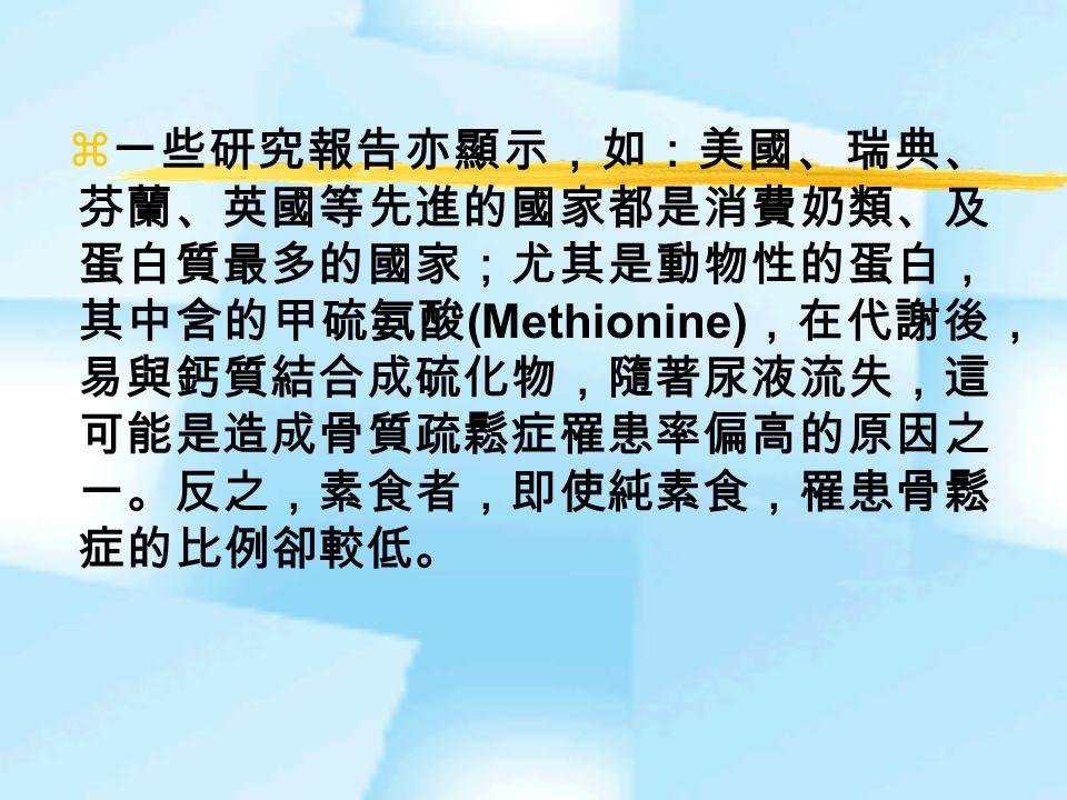  一些研究報告亦顯示,如:美國、瑞典、 芬蘭、英國等先進的國家都是消費奶類、及 蛋白質最多的國家;尤其是動物性的蛋白, 其中含的甲硫氨酸 (Methionine) ,在代謝後, 易與鈣質結合成硫化物,隨著尿液流失,這 可能是造成骨質疏鬆症罹患率偏高的原因之 一。反之,素食者,即使純素食,罹患骨鬆 症的比例卻較低。