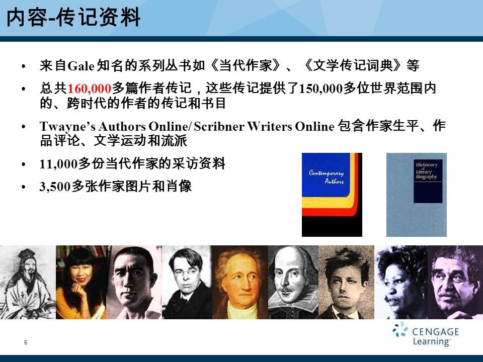 5 来自 Gale 知名的系列丛书如《当代作家》、《文学传记词典》等 总共 160,000 多篇作者传记,这些传记提供了 150,000 多位世界范围内 的、跨时代的作者的传记和书目 Twayne's Authors Online/ Scribner Writers Online 包含作家生平、作 品评论、文学运动和流派 11,000 多份当代作家的采访资料 3,500 多张作家图片和肖像 内容 - 传记资料 5
