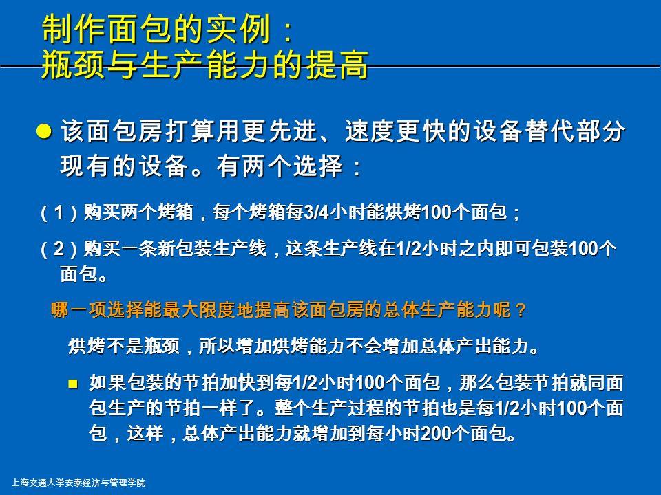 上海交通大学安泰经济与管理学院 制作面包的实例: 转换时间与生产能力 每种面包的生产批量为 100 个,包装转换时间为 15 分钟,那么包装的节拍是每 (1/4 + 3/4 =) 1 小时 100 个面包。整体产出能力变成每小时 100 个面包 。 每种面包的生产批量为 100 个,包装转换时间为 15 分钟,那么包装的节拍是每 (1/4 + 3/4 =) 1 小时 100 个面包。整体产出能力变成每小时 100 个面包 。 增加产出能力的方法之一是增大包装的生产批量。 譬如,包装 200 个白面包之后才包装另一种面包, 反之亦然。这样包装的节拍是每 (1/8 + 3/4 =) 52.5 分钟 100 个面包。整体产出能力变成每小时 114 个 面包。 增加产出能力的方法之一是增大包装的生产批量。 譬如,包装 200 个白面包之后才包装另一种面包, 反之亦然。这样包装的节拍是每 (1/8 + 3/4 =) 52.5 分钟 100 个面包。整体产出能力变成每小时 114 个 面包。但这样会带来其他问题吗?