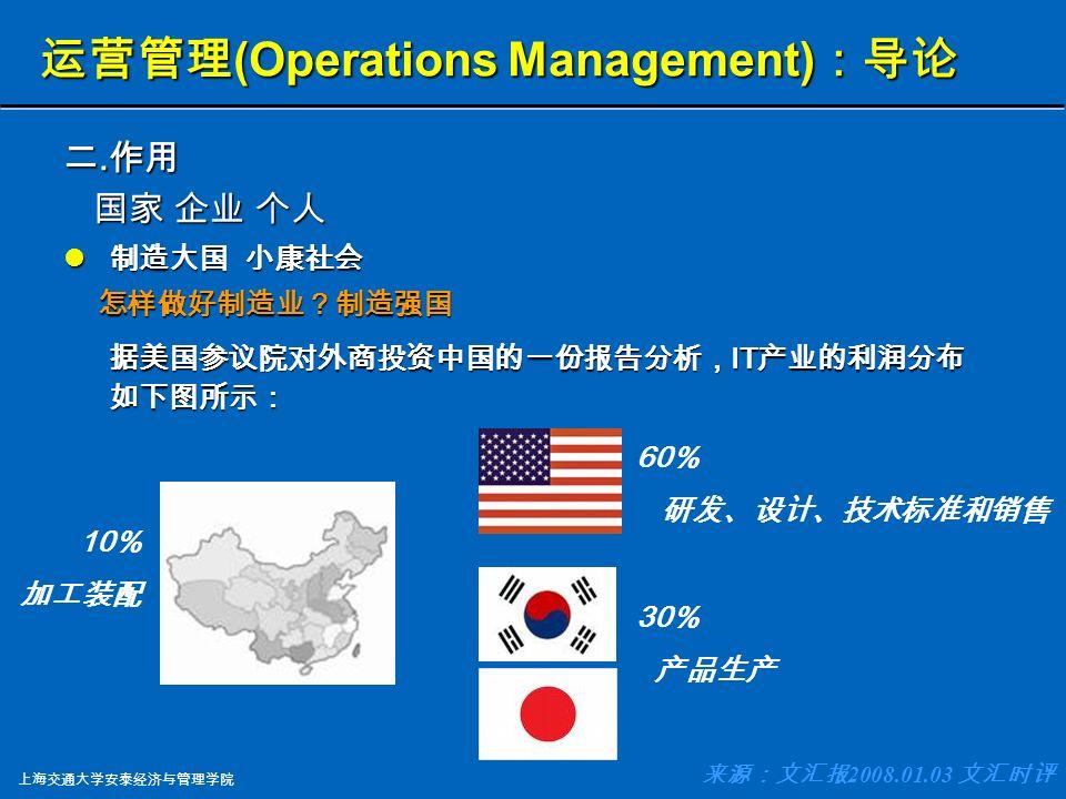 上海交通大学安泰经济与管理学院 运营管理 (Operations Management) :导 论 二.