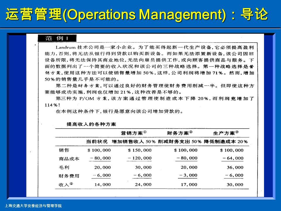 上海交通大学安泰经济与管理学院 运营管理 (Operations Management) :导论 注:根据德州公司的财务报告整理 德州仪器成本构成 单位:百万美元 年份 200420032002 净收益 1258098348383 运营成本及花费 运营成本 353528755313 所占成本比例 51%49%66% 研发成本 197817481619 所占成本比例 28%30%20% 营销管理 / 行政经费 144112491163 所占成本比例 21% 14% 运营利润 2207965288