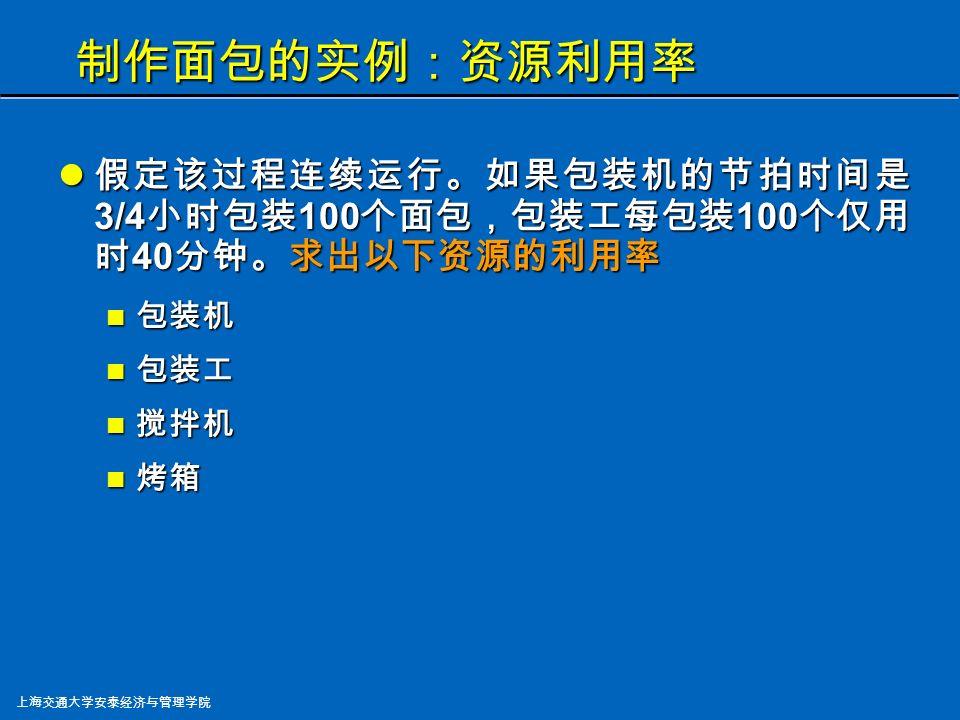 上海交通大学安泰经济与管理学院 制作面包的实例:瓶颈与生产能力 哪一道工序是瓶颈? 哪一道工序是瓶颈? 对面包生产线来说, 烘烤是瓶颈, 因为它的节拍时间最长 。 每条面包生产线的节拍是每小时 100 个面包。共有 两条线,所以面包生产的节拍是每半小时 100 个面包, 比包装的节拍时间短 ( 每 3/4 小时 100 个 ) 。所以,包装 是整个生产过程的瓶颈。 每小时最高的产量是多少? 每小时最高的产量是多少? 因为包装 ( 瓶颈 ) 的节拍是每 3/4 小时 100 个面包,每小时最 高产量是 133 个面包 。